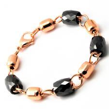 RoseGold PVD Bracelet with Black Diamond Cut Beads
