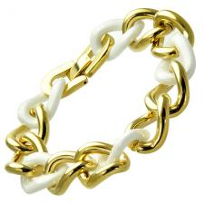 Beautiful Gold PVD and White Ceramic Twisted Link Bracelet
