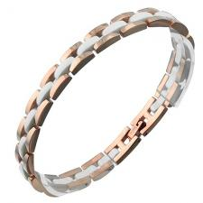 Beautiful Stainless Steel Bracelet w/ Rose Gold PVD and White Ceramic Center Links