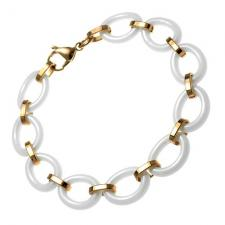 Oval links Ceramic and Rose PVD Stainless Steel Bracelet