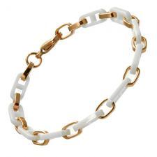 Alternating RoseGold and White Ceramic Bracelet with Oblong Shaped Links