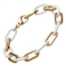 Alternating RoseGold and White Ceramic Bracelet with Oval Shaped Links