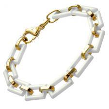 RoseGold PVD And White Ceramic Bracelet w/ Rectangular Shaped Links