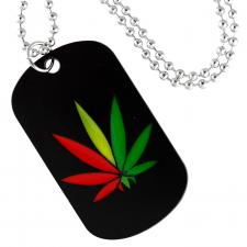 Black Dog Tag Pendant with Pot Leaf Design and Fashion Beaded Necklace