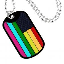 Rainbow gay pride Flag dog tag pendant with beaded chain