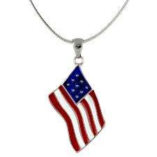 American US Flag Pendant with Fashion Chain
