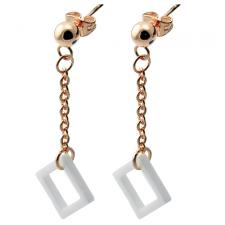 Rosegold PVD Coated & White Ceramic Hanging Earrings w/ Diamond Shaped Accent
