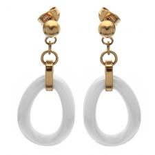 Ceramic and Rose Steel Earrings with oval shape