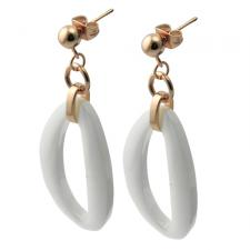 Rosegold PVD Coated Hanging Earrings w/ White Ceramic Oblong Shaped Ornament