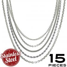 This Package contains 15 Pieces of Assorted Necklaces, 3 Pieces x 5 Types of Chains 