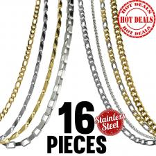 This Package contains 16 Pieces of Assorted Necklaces, 2 Pieces x 8 Types of Chains   Please Note, This Package Is Pre-Packaged According To Style Availability!