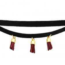 Women's Black Choker Necklace with Three Red Tassels
