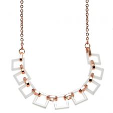 RoseGold PVD Necklace w/ Adjoining White Ceramic Centerpiece