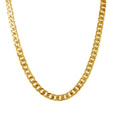 Gold Cuban Curb Link Stainless Steel Necklace