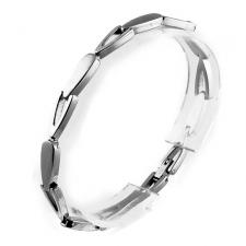 Stainless Steel Bracelet with Oblong Shaped Links
