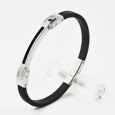 Black Rubber Bracelet with Stainless Steel Curved Link