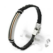 Black Synthetic Leather Bracelet with Stainless Steel Plate in the Middle