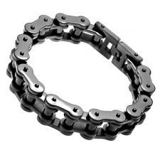 Stainless Steel Biker Chain Link Bracelet in Black Color