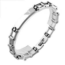 Stainless Steel Biker Chain Bracelet with ID Plate for engraving (8.5 in)