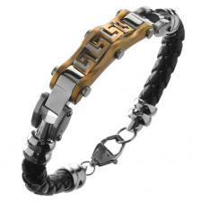 wholesale Steel and Leather Greek Bracelet