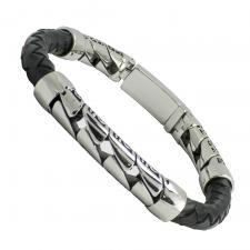 Black Braided Leather and Stainless Steel Bracelet
