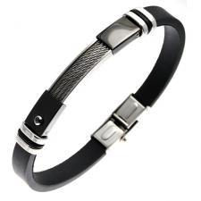Black Rubber and Stainless Steel Bracelet w/ Centered Cable Inlay and Jet CZ Accent