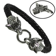 Black Braided Leather bracelet with Wolf Heads