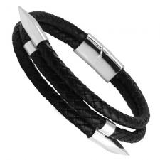 Black Leather Bracelet with Steel Nails and Magnetic Clasp