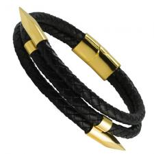 Black Leather Bracelet with Gold PVD Nails and Magnetic Clasp