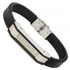 Black Leather Bracelet with Stainless Steel Plate and Cables