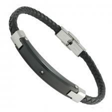 Black Braided Leather Bracelet with Black Stainless Steel Plate and Single CZ Accent