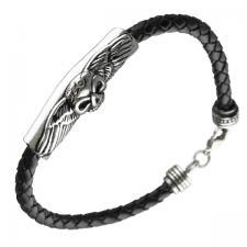 Braided Leather Skull Bracelet