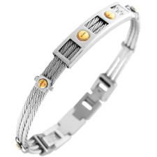 Stainless Steel Cable Bangle W/ Gold PVD Screws Accents
