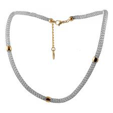 Stainless Steel White Mesh Necklace with Rose Extension Chain and Plate