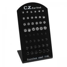 Stainless Steel CZ Ear Stud with Display
