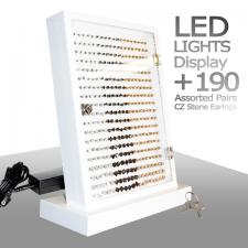 LED Light Display, White Finish, Illumination, CZ Stones, Package Deal, Assortment