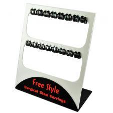 Stainless Steel Full Black PVD Earrings Display (16 Pairs)