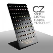 Birth Stones, Earing Studs, CZ, Free Display