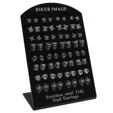 Stainless Steel Biker Image Earring Display