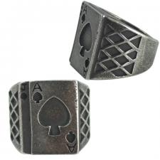 Men's Stainless Steel Ace of Cards Ring