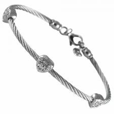 Stainless Steel Cable Ladies' Bangle Bracelet  With 3 Clear Jeweled Heart