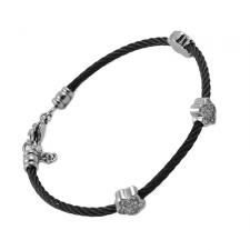 Stainless Steel Black Cable Bangle with 3 Jeweled Flowers