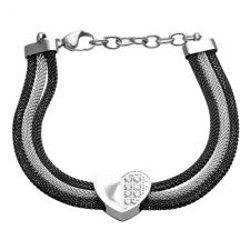Stainless Steel 3 Black and Silver Mesh Bracelet with half Jeweled Heart and Extension Chain