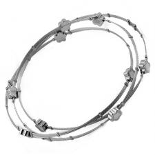 Stainless Steel Bangle With 3 Conjoined Wire Cables And White Flower Shaped Decorative Beads