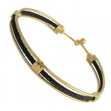 Gold Stainless Steel Bracelet with Black Cables