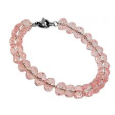Stainless Steel Oval Link Chain Bracelet Strung w/ Pink Glass Beads