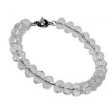 Stainless Steel Oval Link Chain Bracelet Strung w/ Clear Glass Beads