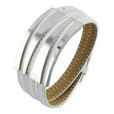Beautiful 3 White Leather Straps Bangle conjoined with Stainless Steel Plates