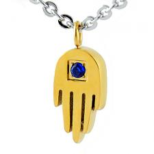 Stainless Steel Jeweled Gold PVD HAMSA Judaica Symbol Pendant with Oval Link 18 IN Chain