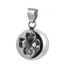 Stainless Steel Cylindrical Pendant with Clear Jeweled 4 Leaves Clover